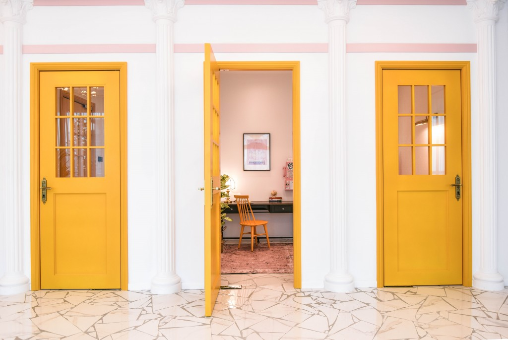 The whimsical use of colour and distinctive visual style of the auteur Wes Anderson is represented in the interior decoration of Colony @ Mutiara Damansara.
