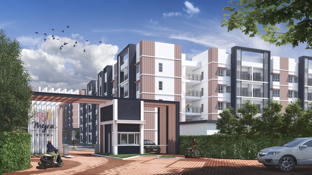 The medium-cost apartment is both gated and guarded with ample communal spaces.