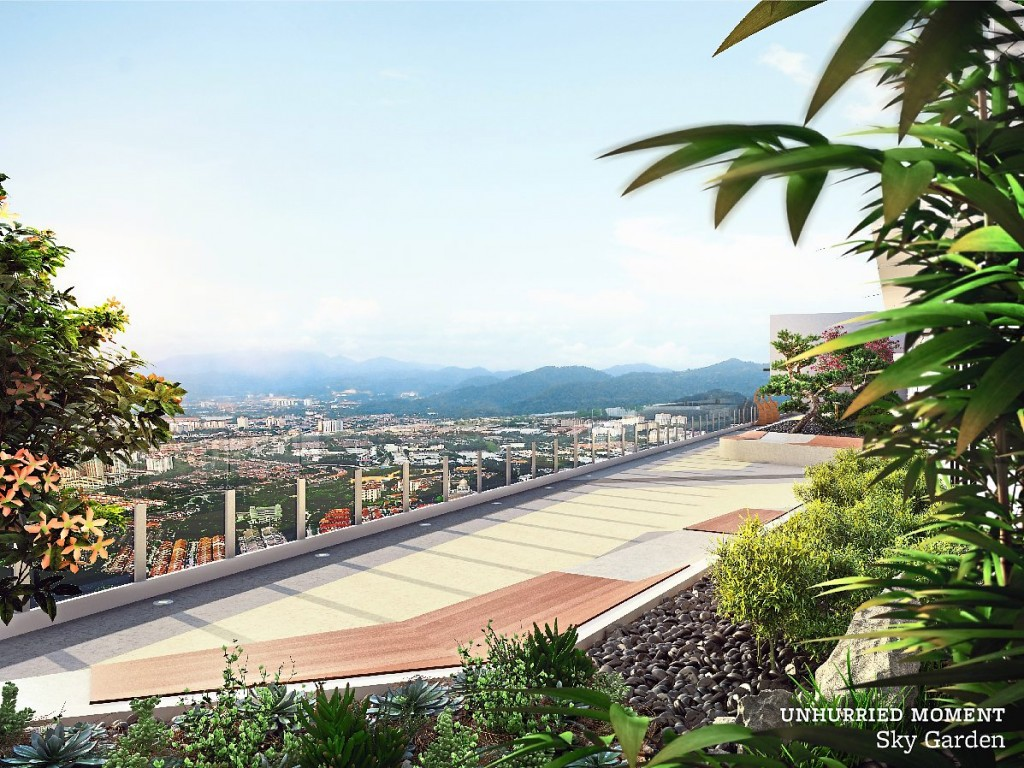 Residents can appreciate their unhurried moments at the sky garden overlooking the cityscape.
