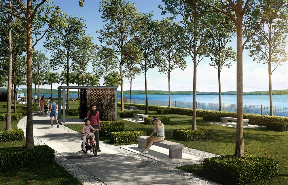 Artist impression of the 500m lakefront boardwalk and jogging track.