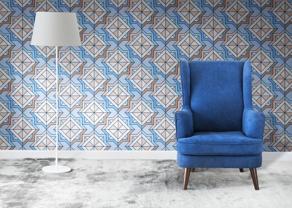 Wingback blue chair in a room mockup