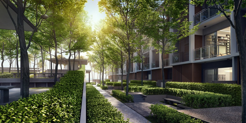 The landscaped walkways enhance the ambience of the GEOLake townhouse.