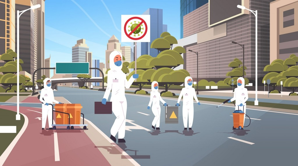 scientists in hazmat suits holding stop coronavirus banner people cleaning disinfecting epidemic MERS-CoV virus empty city street wuhan 2019-nCoV pandemic health risk full length horizontal