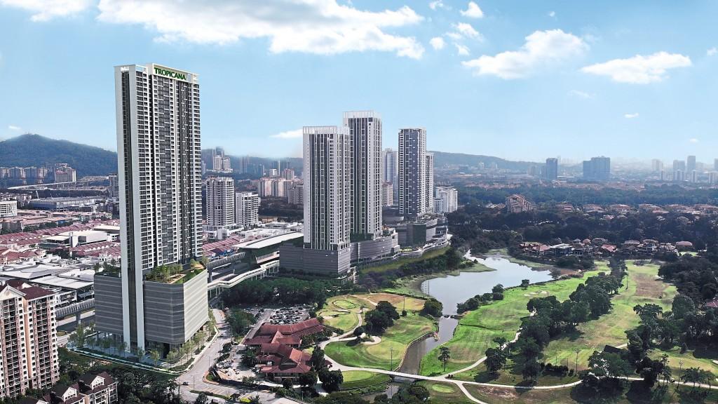 The development of Tropicana Gardens overlooking golf course views.