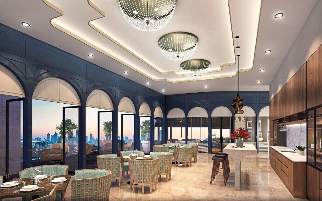 The Private Lounge makes  for a fine place for adults to  communicate, as they watch the sun set below the skyline.