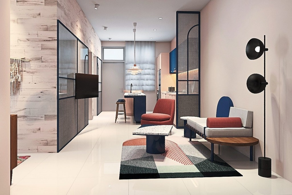The spacious open-concept layout of the townhouse as illustrated.