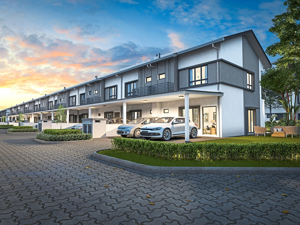 Artist impression of the contemporary double-storey terrace houses.