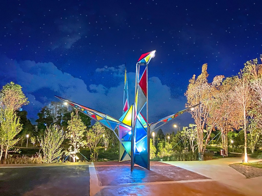 The eight-metre high Origami Crane is the icon for Jade Hills' Origami Park.