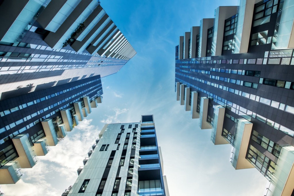 Low perspective of modern Milan apartment blocks