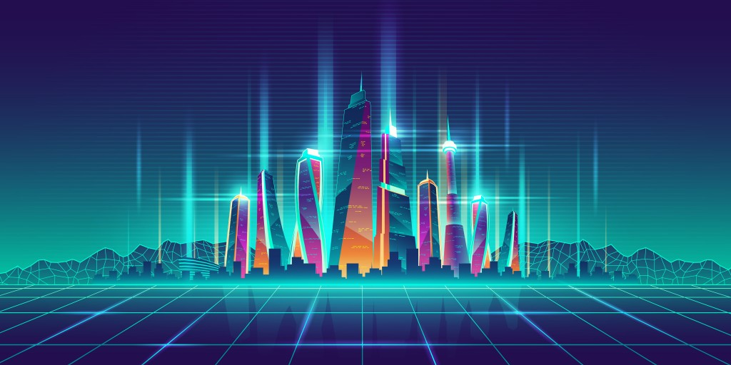 Modern metropolis illuminated neon lights futuristic skyscrapers buildings on digital simulation grid cartoon vector illustration. Future city virtual model, game urban background. Nightlife concept