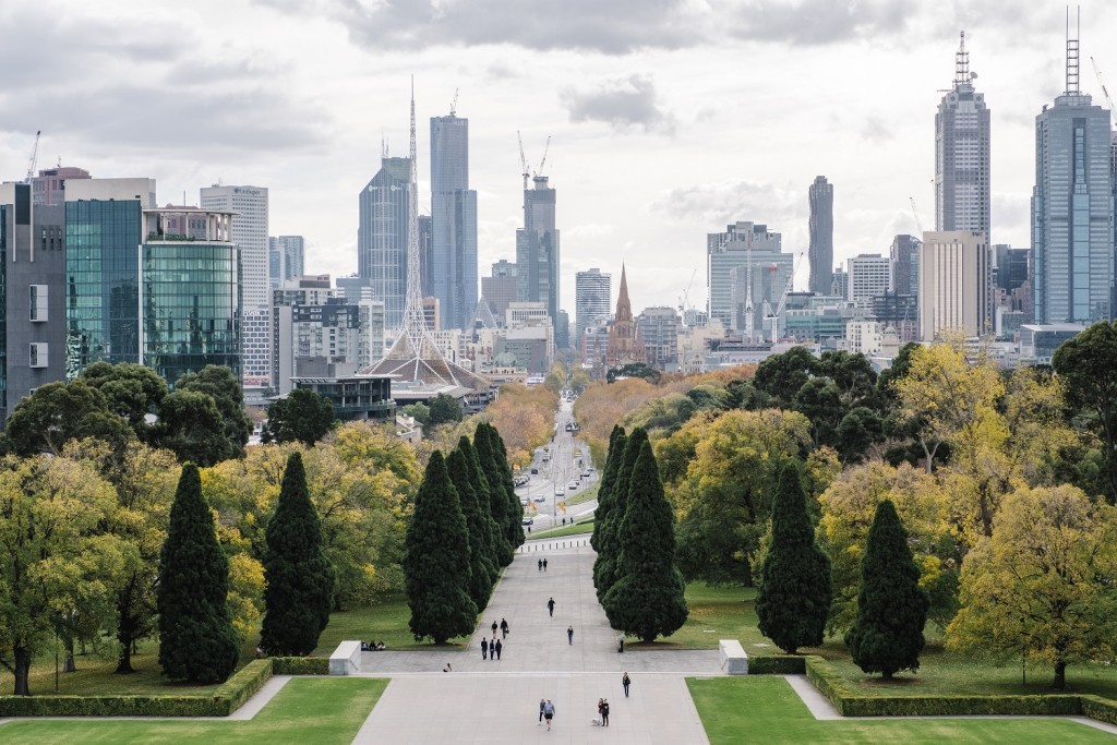 big city and park in Melbourne