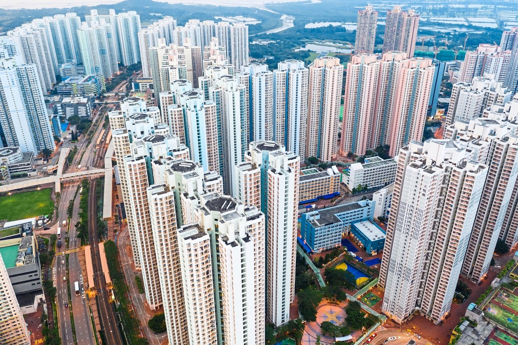 Overview of Tin Shun Wai town in Hong Kong.