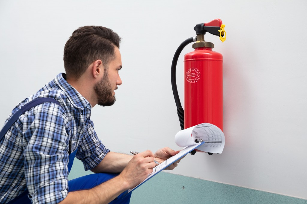 Fire extinguishers should be serviced at least once a year.