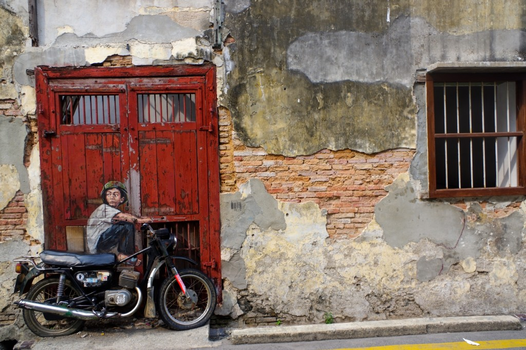 Boy on a bike mural at George Town, Penang