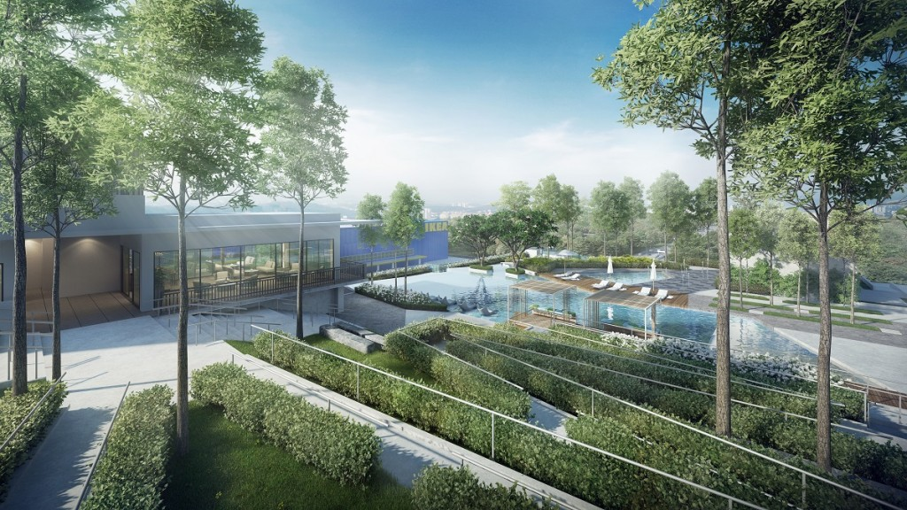 Tree-lined pathways, strategically placed communal areas and vibrant pools form part of the facilities at One Cochrane.