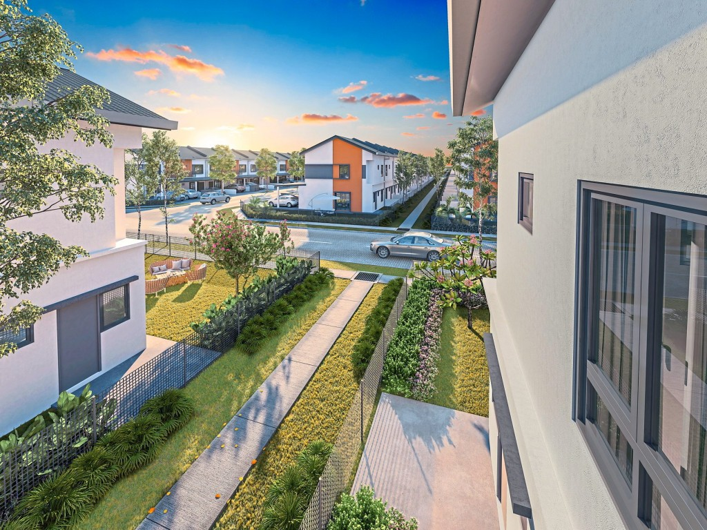 An illustration of the back-lane gardens that connect the homes of LBS Alam Perdana.