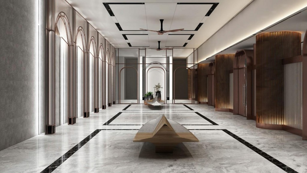 The main lobby entrance incorporates modern arch architrave and columns decorated with vertical stripe designs to create a rhythmic feel.
