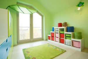 Children room with green walls