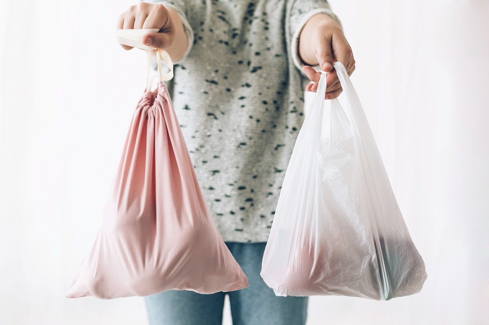 Woman holding in one hand groceries in reusable eco bag and in o