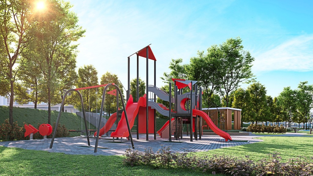 The development itself hosts a playground, reflexology  paths, outdoor gym station and badminton court.