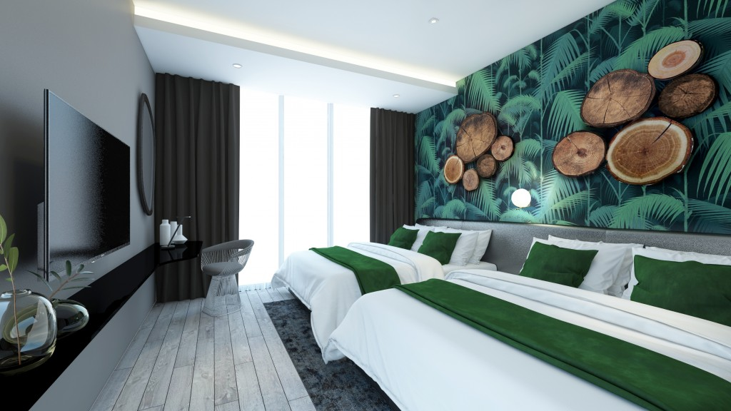 The hotel room design offers a fresh look with its floral ambience.