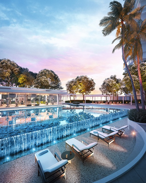 Water fountains and sunken pool terraces form part of the embellishments to grace the facilities deck.