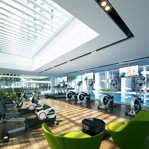 Workout in style with the cool expanse of the pool fronting you.