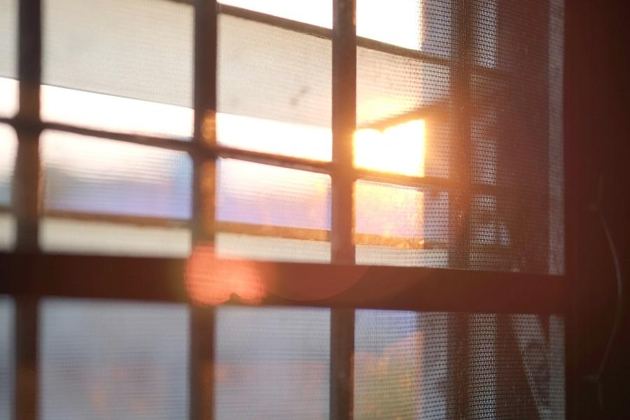 Sun shines through the window.