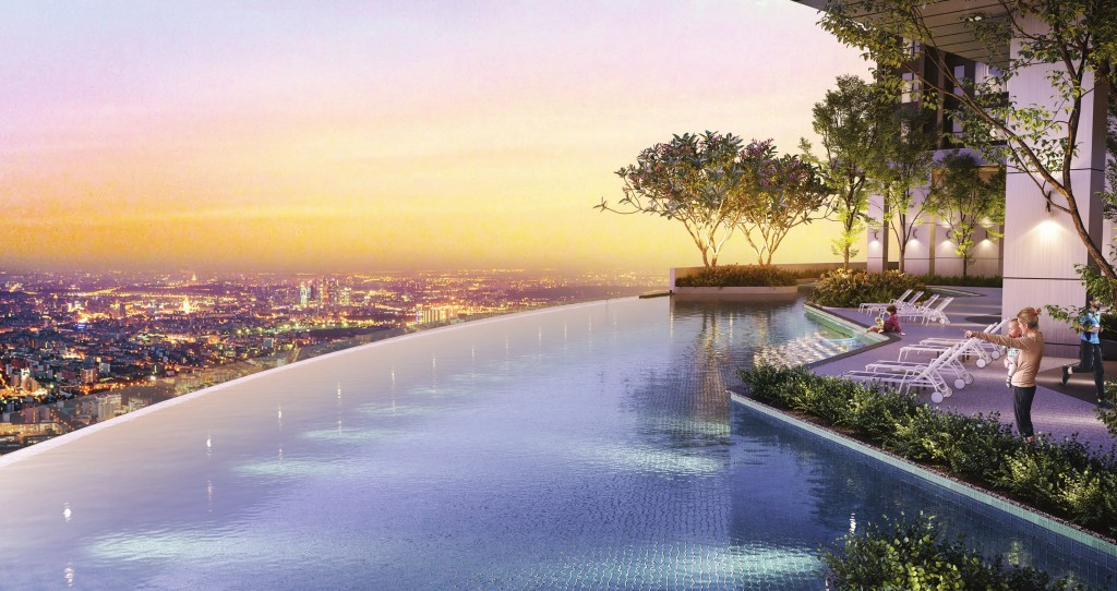 Wellness facilities include an Olympic-length infinity pool, hot jacuzzi, 300m jogging track, futsal, basketball open court and rock climbing wall for children.