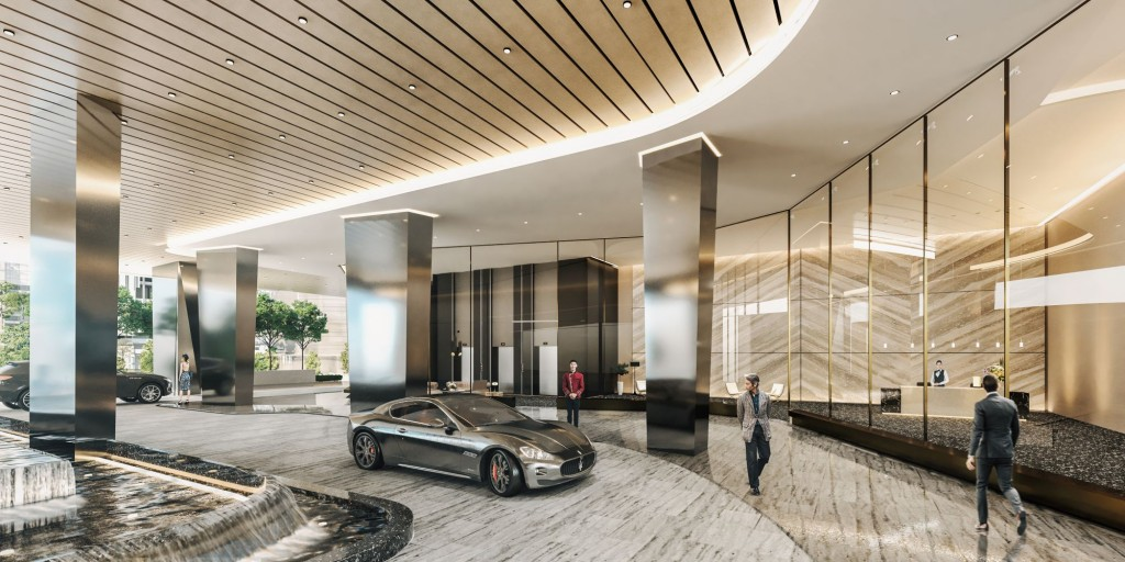 A visual of the 5-star lobby drop-off at BeCentral.