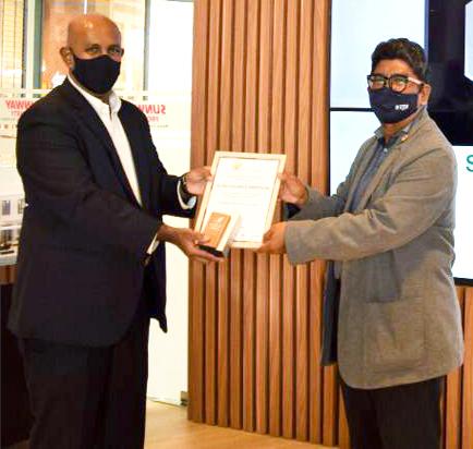 Gerard receiving the Special Awards on sustainable development goals from MalaysiaGBC Southern Chapter chairman Prof Mohd Hamdan Bin Haji Ahmad.