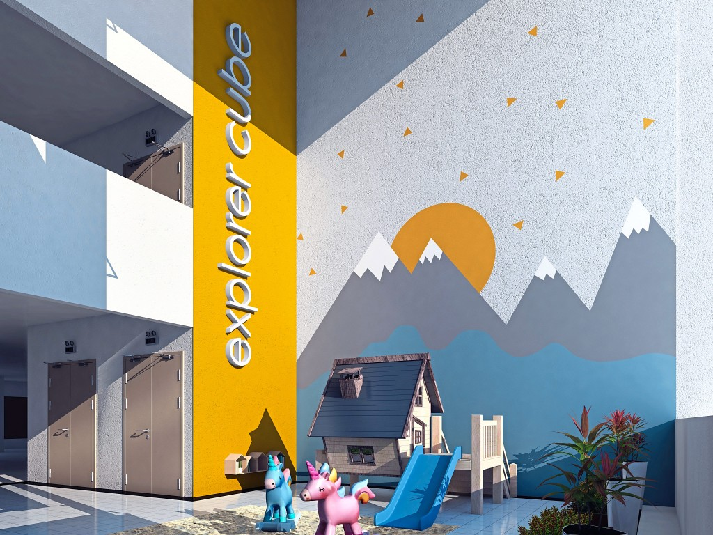 The six thematic sky cubes offer specially designed spaces filled with activities for the community.