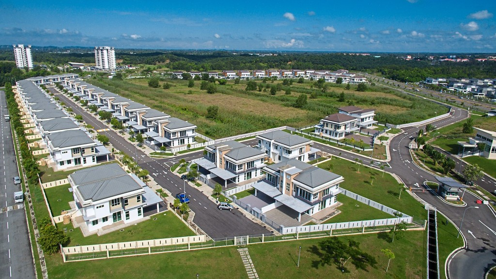 An aerial view of the semi-detached houses in the 395-acre Bandar Utama township.