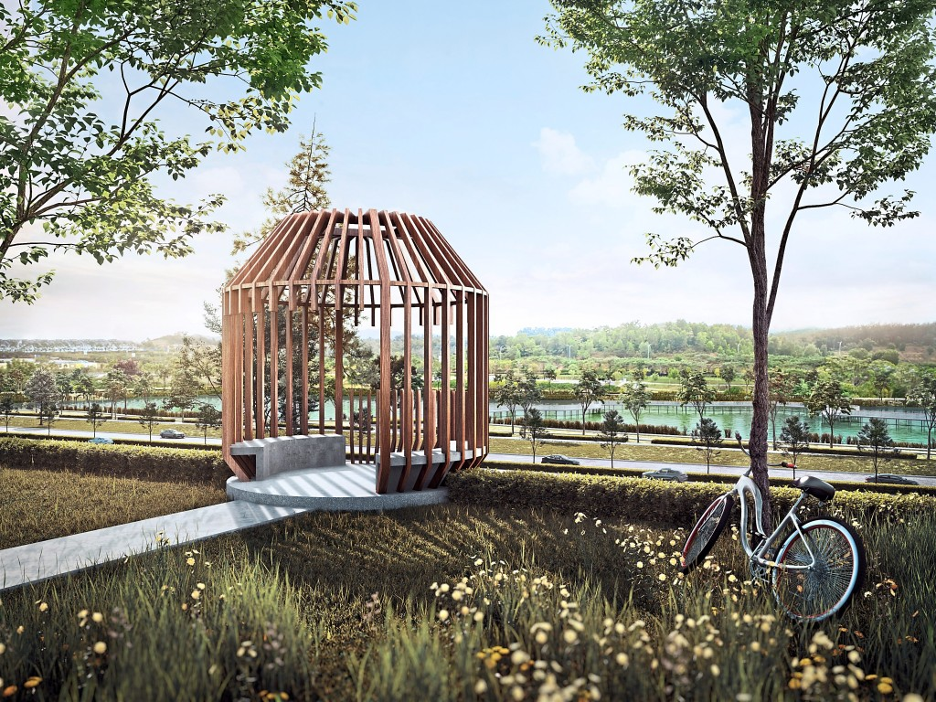 Residents and visitors can rest and enjoy the view of the 22-acre Wetland Park  from the viewing deck.