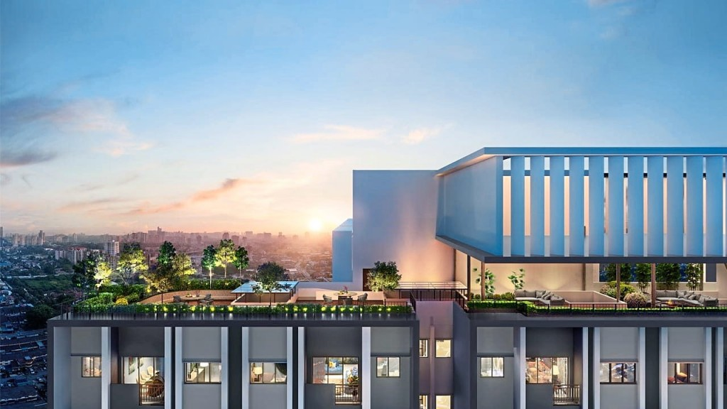 Take in the view of the cityscape through the sky lounge at  SkyAwani 5 Residences.