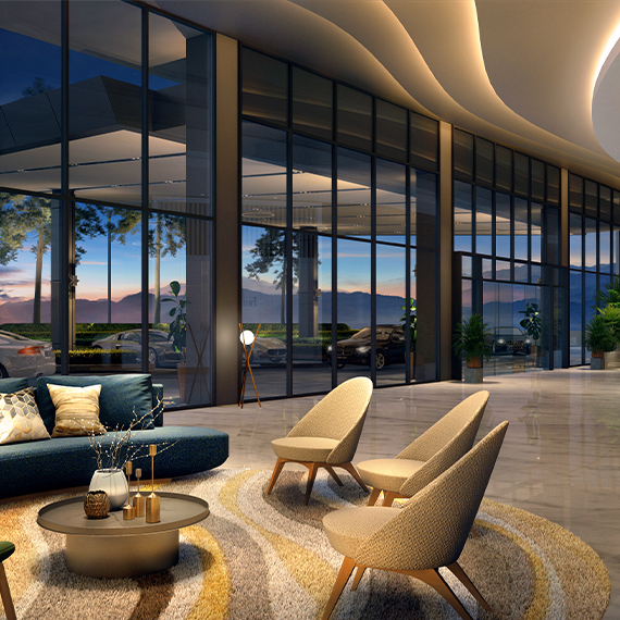 Residents and visitors alike will be greeted by the resort-like ambience of the lobby.