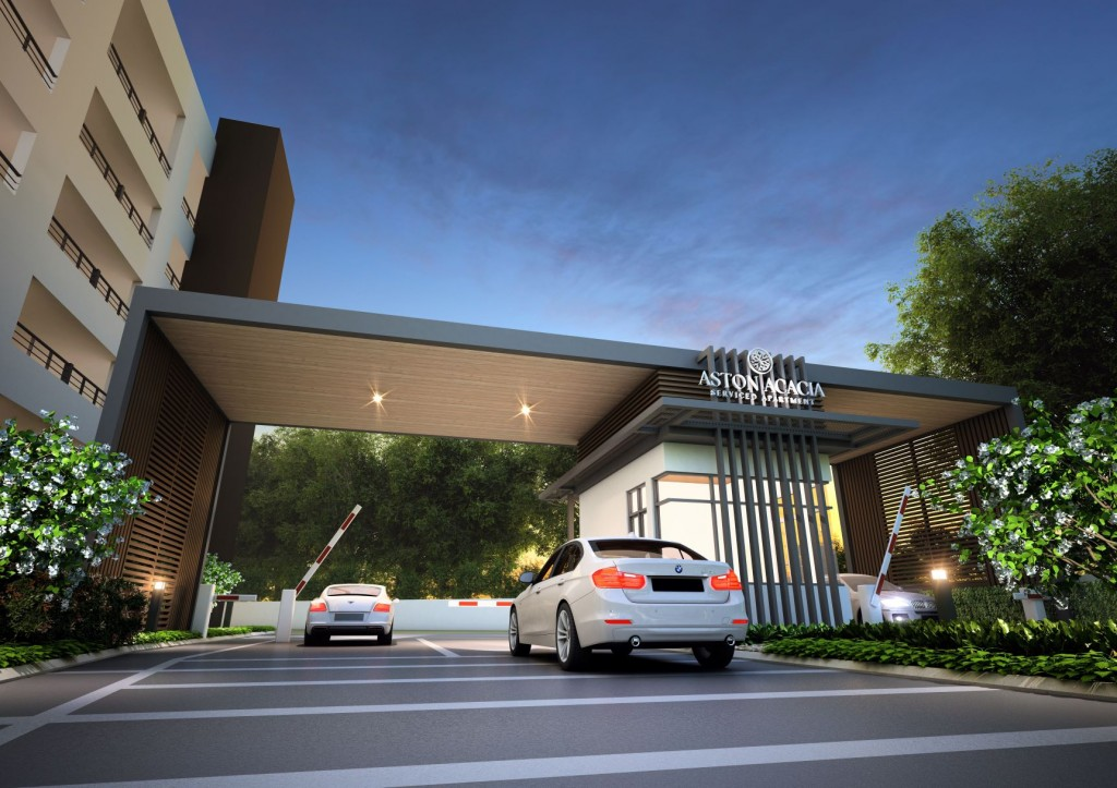 The entrance to Aston Acacia is guarded to ensure better security.
