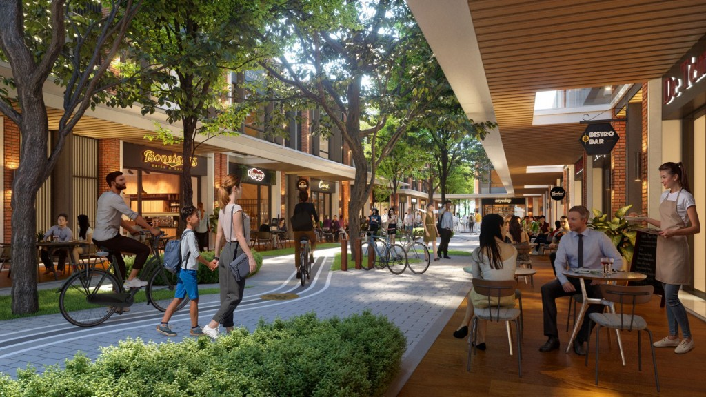 Dedicated lanes emphasise walkability and bikeability along Gardens Square's tree-lined avenues.