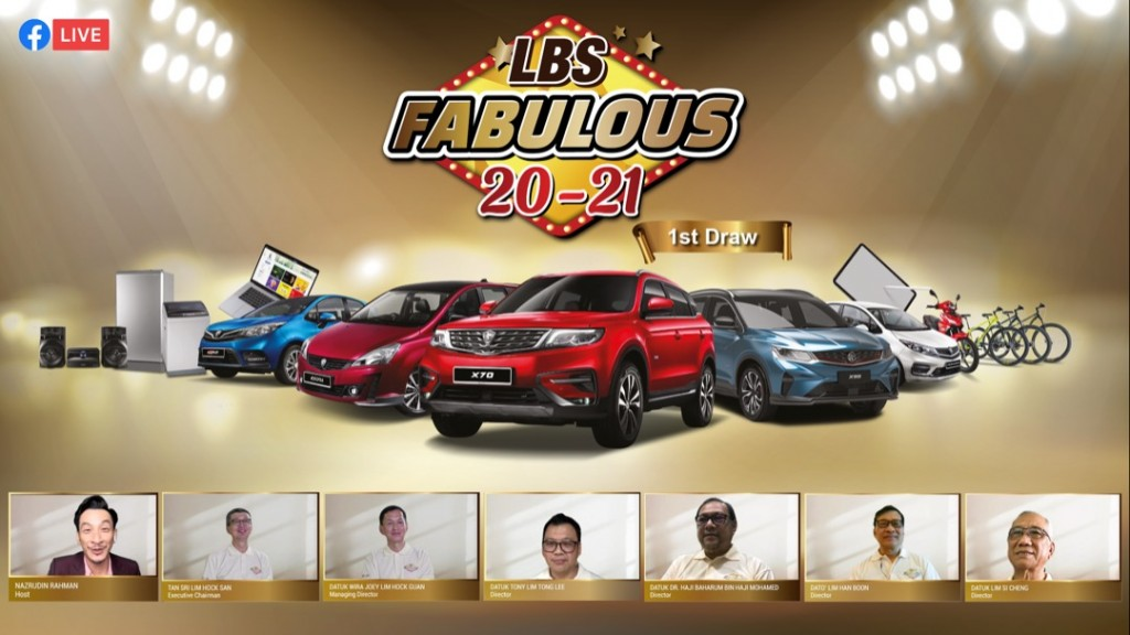 A snapshot of the virtual lucky draw. From bottom left are host Nazrudin Rahman, Lim, Joey, Tony, Baharum, Han Boon and Si Cheng.