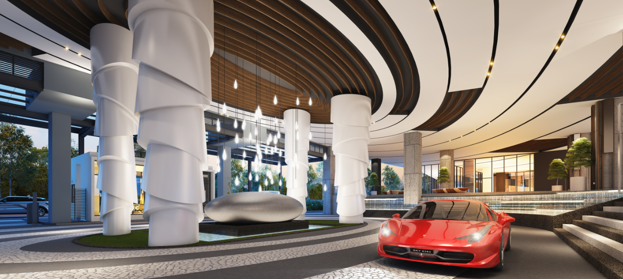 Invigorating Zen Environment in SkyMeridien Residences' Grand Drop-off Lobby, surrounded by surmountable water bodies.