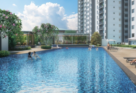 Among the water-inspired amenities are the 60 metre-long pool and the multiple water bodies across the facilities podium for relaxation and rejuvenation.