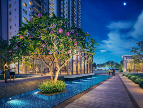 Water elements mingle with nature to create a blissful environment.